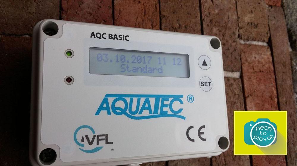 Řídicí jednotka AQC Basic display při provozu